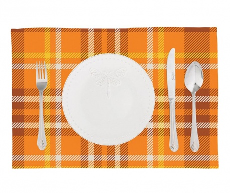 Set 2 pogrinjkov Orange Checks Plaid 33x45 cm