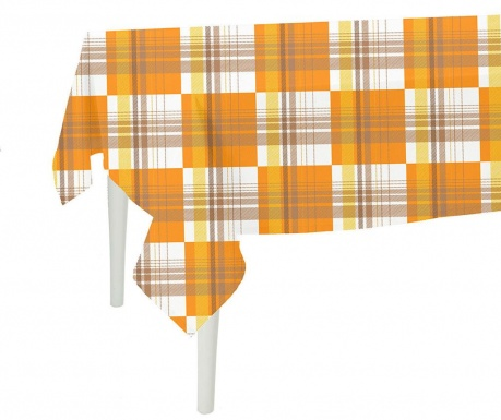 Namizni prt Orange Checks 140x140 cm