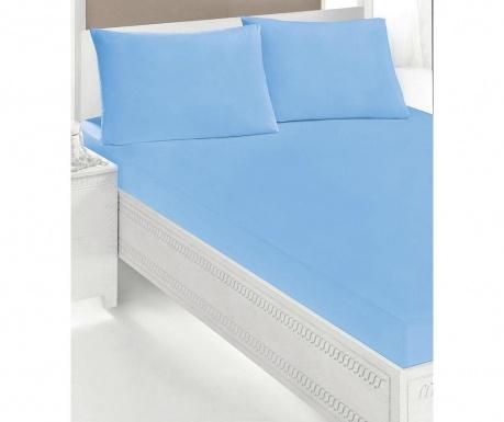 Sada posteľná plachta s gumičkou a 2 obliečky na vankúše Double Microfiber Blue