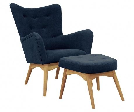 Zestaw fotel i podnóżek Karl Blue