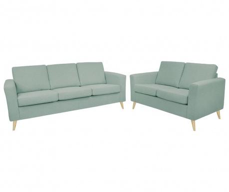 Zestaw kanapa trzyosobowa i kanapa dwuosobowa Alex Greyish Blue Wooden Legs