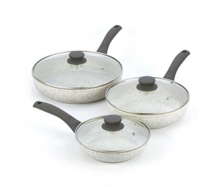 Комплект 3 тигана с капак Stonewhite Gray
