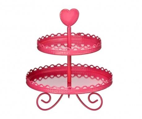 Dvojposchodový podnos Pink Heart