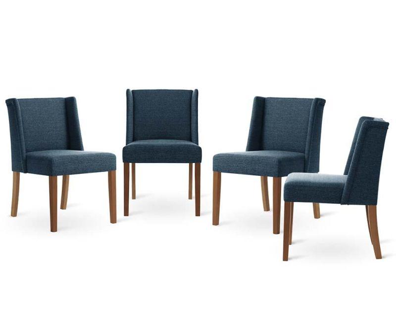 Sada 4 židlí Zeste Brown Blue