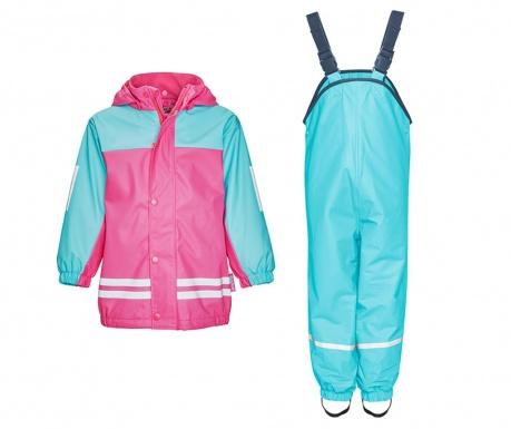 Komplet - otroška vodoodporna jakna in kombinezon Duo Colors Turquoise Pink 2-3 let