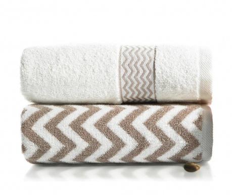Zestaw 2 ręczników kąpielowych Ella Brown 50x90 cm