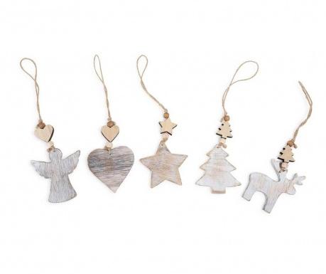 Set 5 visečih dekoracij Shabby Christmas