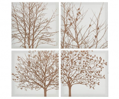 Set 4 tablouri Golden Trees 30x30 cm