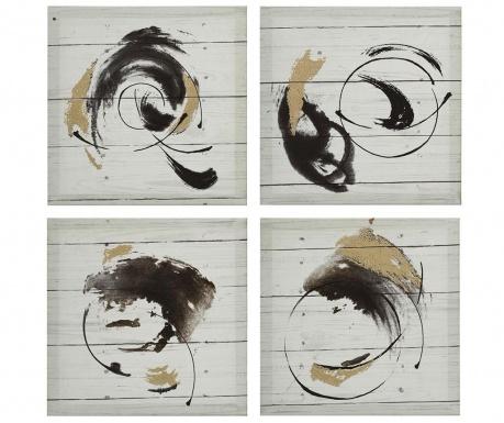 Set 4 tablouri Calypso Stroke 30x30 cm