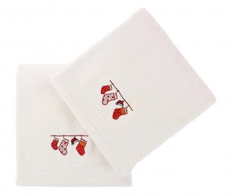 Zestaw 2 ręczników kąpielowych Christmas Gifts White 70x140 cm