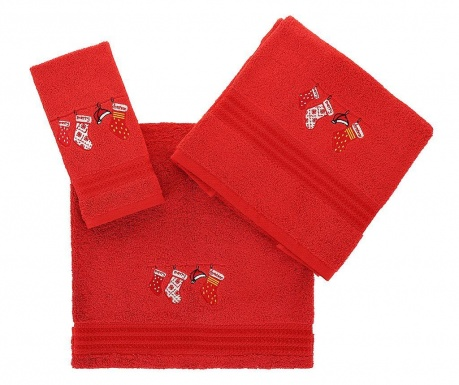 Set 3 prosoape de baie Christmas Gifts Red