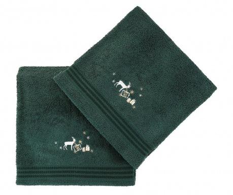 Set 2 kupaonska ručnika Christmas Reindeer Green