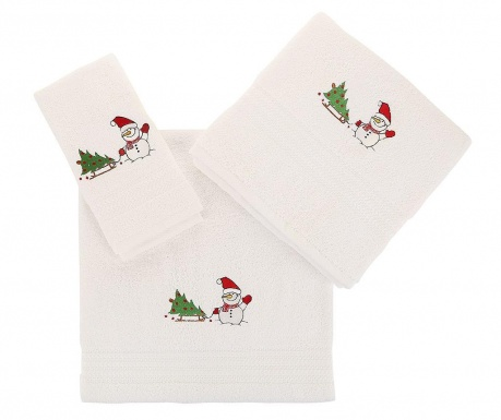 Tree and Snowman White 3 db Fürdőszobai törölköző