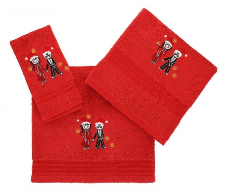 Set 3 prosoape de baie Christmas Couple Red