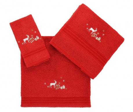 Christmas Reindeer Red 3 db Fürdőszobai törölköző