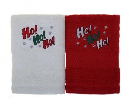 Ho! Ho! Ho! White and Red 2 db Fürdőszobai törölköző 50x100 cm