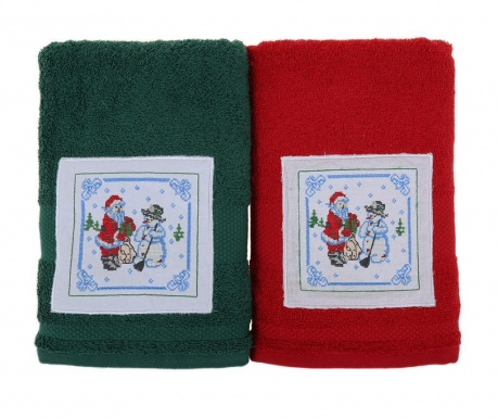 Set 2 kupaonska ručnika Santa and Snowman Green and Red 50x100 cm