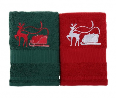 Set 2 prosoape de baie Sled with Reindeer Green and Red 50x100 cm
