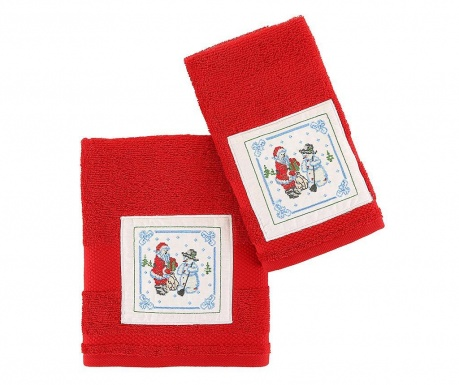 Set 2 prosoape de baie Santa and Snowman Red