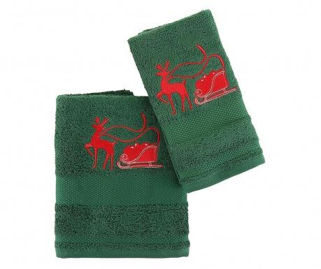 Set 2 kopalniških brisač Sled with Reindeer Green