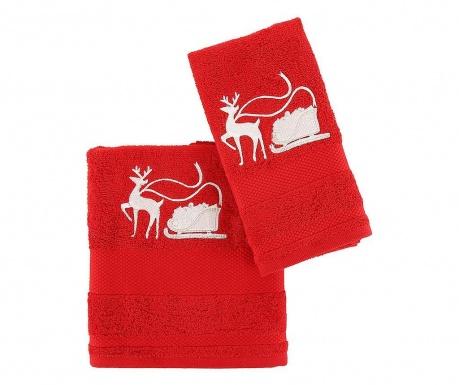 Set 2 prosoape de baie Sled with Reindeer Red