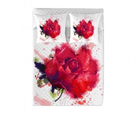 Prešito posteljno pregrinjalo Red Rose