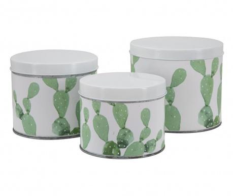 Σετ 3 δοχεία  με καπάκι Cactus