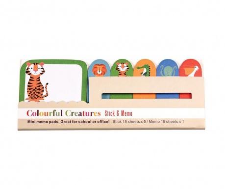 Set 6 blocuri notite adezive Colourful Creatures