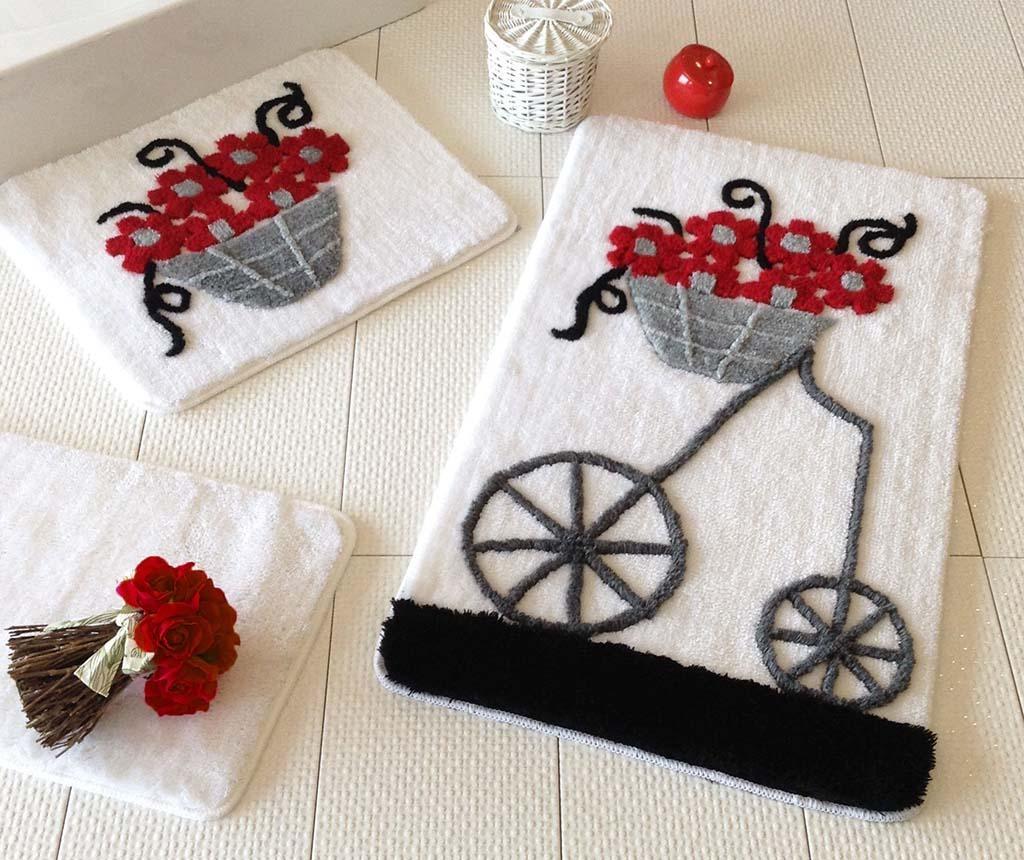 Set 3 tepiha za kupaonicu Alcati Red