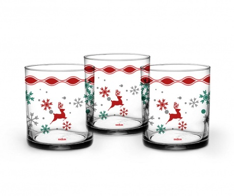 Set 3 kozarcev Snowy Deer 250 ml