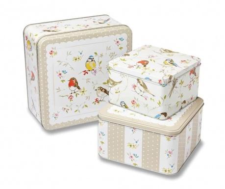 Set 3 cutii cu capac Birds World Cake Square