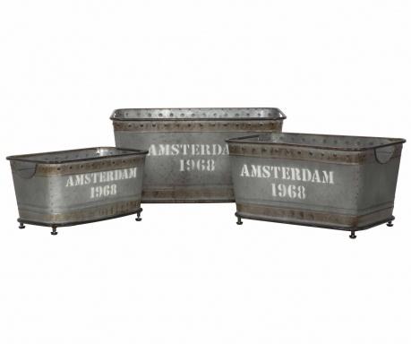 Sada 3 skladovacích krabíc Amsterdam