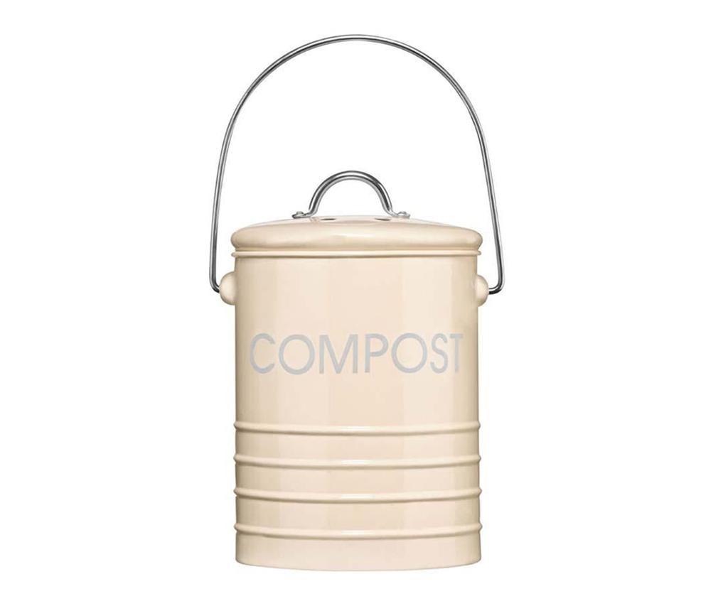 Posuda s poklopcem za kompost Ridges Cream 2.5 L