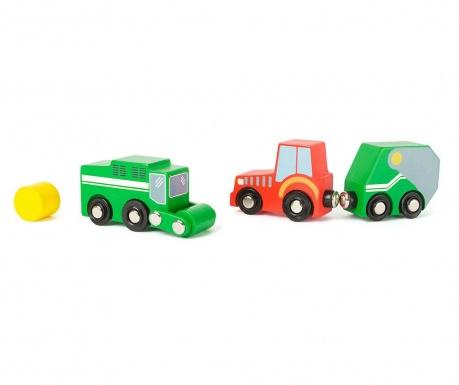Zestaw 2 samochodziki zabawkowe z przyczepą i akcesorium Farm Vehicle