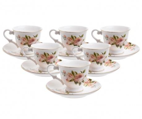 Set 6 cesti si 6 farfurioare Roses Espresso