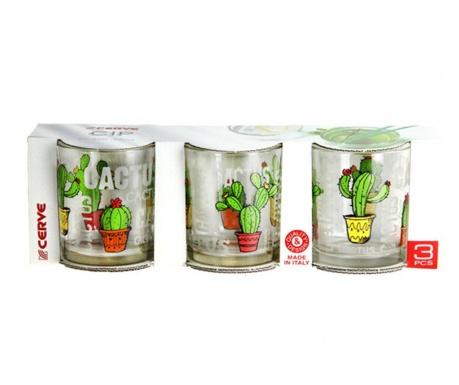 Set 3 kozarcev Cactus 250 ml