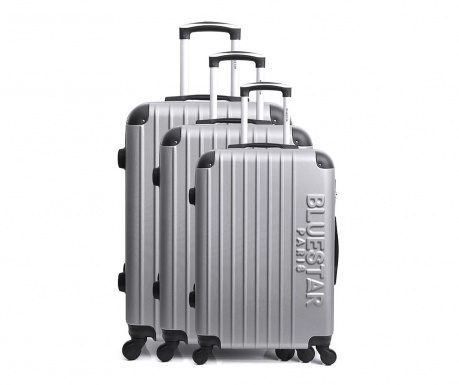 Bucharest Silver 3 db Gurulós bőrönd