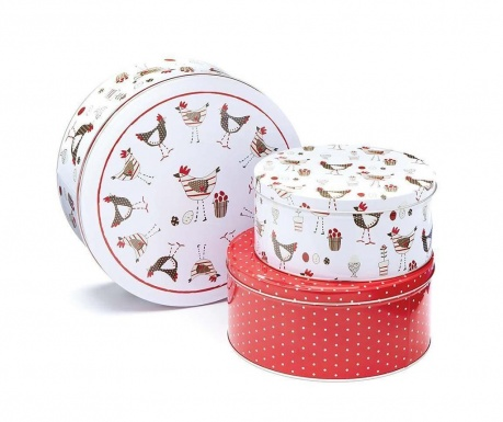 Set 3 cutii cu capac Chicken Cake White Red