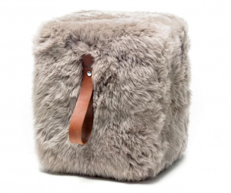 Fluffy Cube Beige Brown Zsámoly