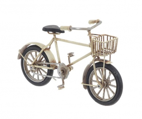 Decoratiune Bike with Basket Creme