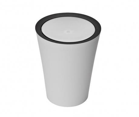 Cos de gunoi cu capac Flip Round White Black 8.5 L