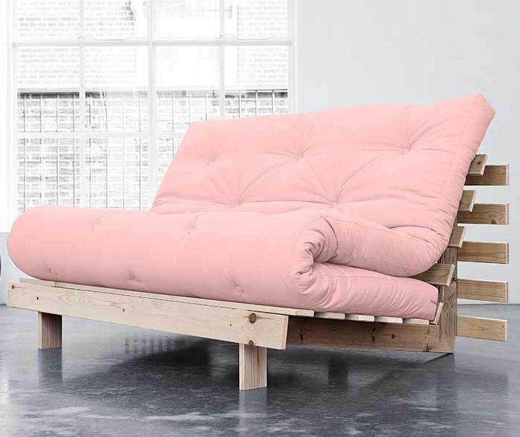 Sofa extensibila Roots Natural and Pink 140x200 cm