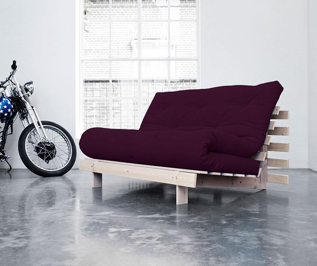 Sofa extensibila Roots Natural and Purple Plum 140x200 cm