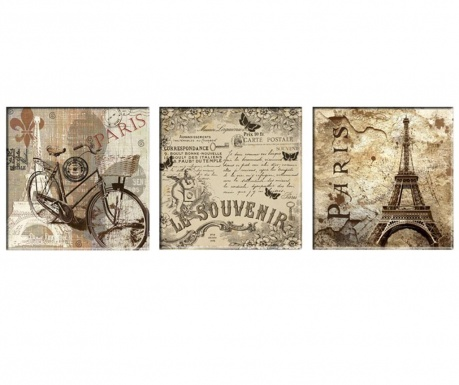 Set 3 slik Vintage Paris 30x30 cm