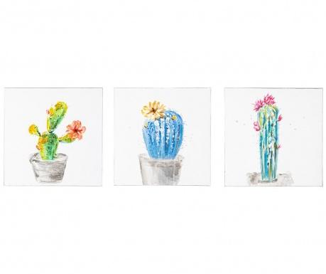 Cassiel Cactus 3 db Festmény 30x30 cm