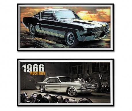 Комплект 2 картини 3D Mustang 26x50 см