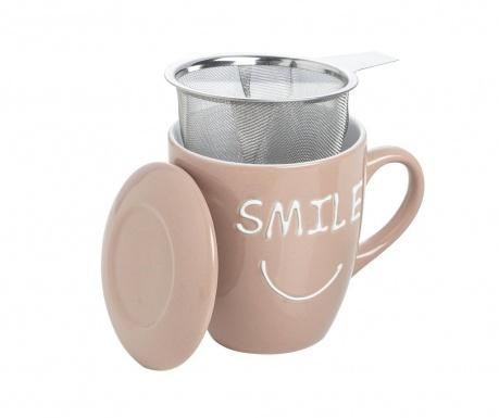 Smile Light Brown Bögre fedővel és szűrővel 350 ml