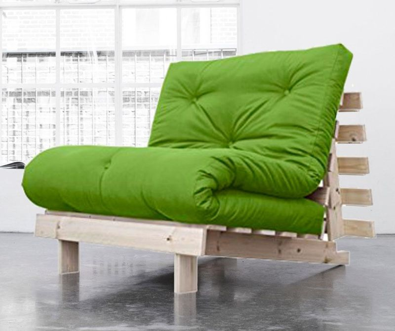 Sofa extensibila Roots Natural and Lime Green 90x200 cm