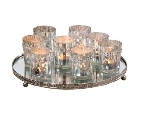 Sada 8 stojany na sviečky a dekoračný podnos Romantic Light