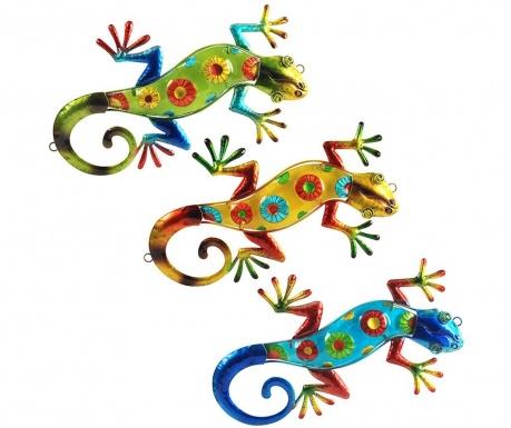 Set 3 decoratiuni de perete Gecko Multicolor